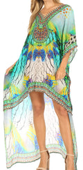 Sakkas Laisson Flowy Hi Low Caftan Rhinestone Boxy V Neck Dress Top Cover / Up#color_SM128-Multi