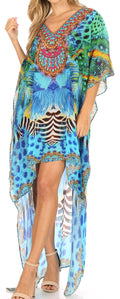 Sakkas Laisson Flowy Hi Low Caftan Rhinestone Boxy V Neck Dress Top Cover / Up#color_ST37-Turq