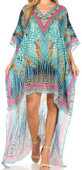 Sakkas Laisson Flowy Hi Low Caftan Rhinestone Boxy V Neck Dress Top Cover / Up#color_ST40-Turq