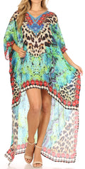 Sakkas Laisson Flowy Hi Low Caftan Rhinestone Boxy V Neck Dress Top Cover / Up#color_ST49-Turq