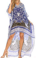 Sakkas Laisson Flowy Hi Low Caftan Rhinestone Boxy V Neck Dress Top Cover / Up#color_TB50-Turq