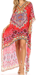 Sakkas Laisson Flowy Hi Low Caftan Rhinestone Boxy V Neck Dress Top Cover / Up#color_TRR1-Red