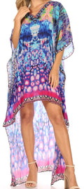 Sakkas Laisson Flowy Hi Low Caftan Rhinestone Boxy V Neck Dress Top Cover / Up#color_WB43-Blue
