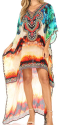 Sakkas Laisson Flowy Hi Low Caftan Rhinestone Boxy V Neck Dress Top Cover / Up#color_WM105-Multi