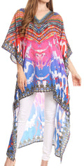Sakkas Laisson Flowy Hi Low Caftan Rhinestone Boxy V Neck Dress Top Cover / Up#color_WM111-Multi