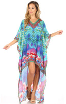 Sakkas Laisson Flowy Hi Low Caftan Rhinestone Boxy V Neck Dress Top Cover / Up