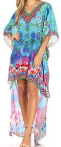 Sakkas Laisson Flowy Hi Low Caftan Rhinestone Boxy V Neck Dress Top Cover / Up#color_WT39-Turq