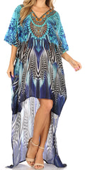 Sakkas Laisson Flowy Hi Low Caftan Rhinestone Boxy V Neck Dress Top Cover / Up#color_ZB55-Blue