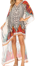 Sakkas Laisson Flowy Hi Low Caftan Rhinestone Boxy V Neck Dress Top Cover / Up#color_ZM99-Multi