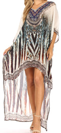 Sakkas Laisson Flowy Hi Low Caftan Rhinestone Boxy V Neck Dress Top Cover / Up#color_ZW129-White