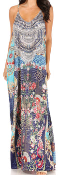 Sakkas Sofia Women's Spaghetti Strap V-neck Floral Print Summer Casual Maxi Dress#color_408