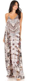 Sakkas Sofia Women's Spaghetti Strap V-neck Floral Print Summer Casual Maxi Dress#color_409