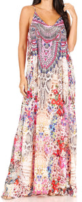 Sakkas Sofia Women's Spaghetti Strap V-neck Floral Print Summer Casual Maxi Dress#color_410