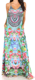Sakkas Sofia Women's Spaghetti Strap V-neck Floral Print Summer Casual Maxi Dress#color_412