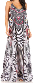 Sakkas Sofia Women's Spaghetti Strap V-neck Floral Print Summer Casual Maxi Dress#color_419