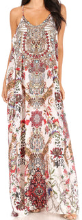 Sakkas Sofia Women's Spaghetti Strap V-neck Floral Print Summer Casual Maxi Dress#color_420