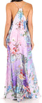 Sakkas Sofia Women's Spaghetti Strap V-neck Floral Print Summer Casual Maxi Dress