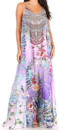 Sakkas Sofia Women's Spaghetti Strap V-neck Floral Print Summer Casual Maxi Dress#color_423