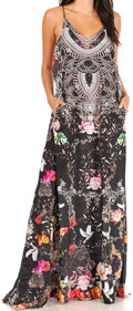 Sakkas Sofia Women's Spaghetti Strap V-neck Floral Print Summer Casual Maxi Dress#color_458