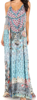 Sakkas Sofia Women's Spaghetti Strap V-neck Floral Print Summer Casual Maxi Dress#color_TTU370-Turq