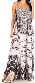 Sakkas Sofia Women's Spaghetti Strap V-neck Floral Print Summer Casual Maxi Dress#color_ZW371-White