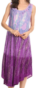Sakkas Alicia Ombre Vine Print Batik Dress / Cover Up with Sequins and Embroidery#color_Light Purple
