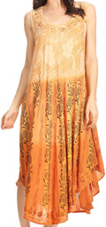 Sakkas Alicia Ombre Vine Print Batik Dress / Cover Up with Sequins and Embroidery#color_Light Brown
