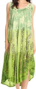 Sakkas Alicia Ombre Vine Print Batik Dress / Cover Up with Sequins and Embroidery#color_Light Green
