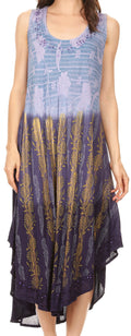 Sakkas Alicia Ombre Vine Print Batik Dress / Cover Up with Sequins and Embroidery#color_Navy
