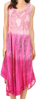 Sakkas Alicia Ombre Vine Print Batik Dress / Cover Up with Sequins and Embroidery#color_Pink