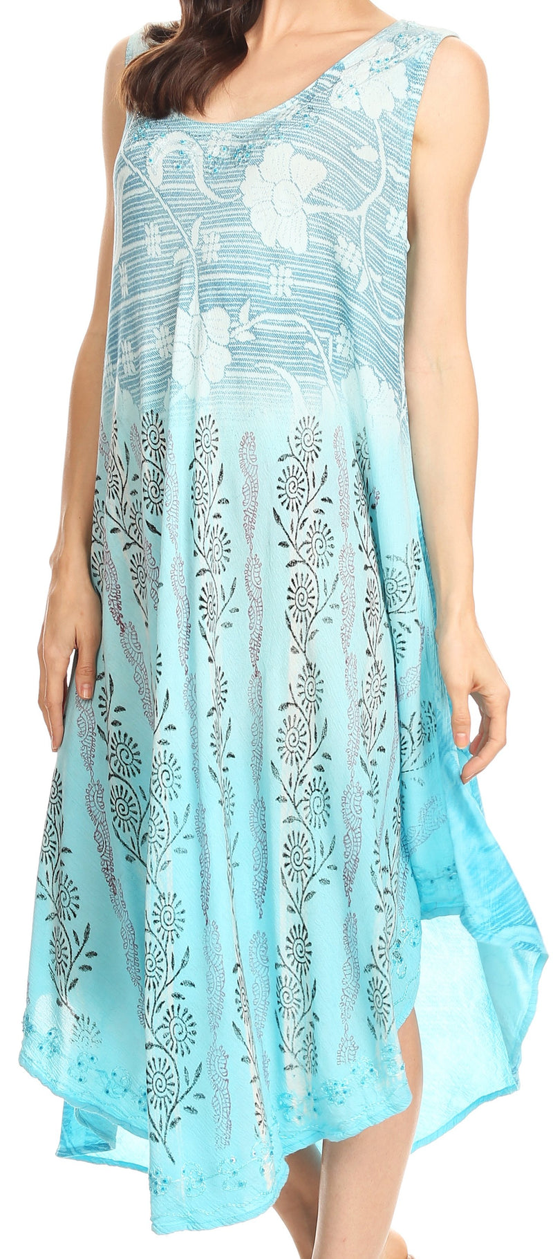 Sakkas Alicia Ombre Vine Print Batik Dress / Cover Up with Sequins and Embroidery