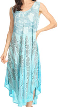 Sakkas Alicia Ombre Vine Print Batik Dress / Cover Up with Sequins and Embroidery#color_Turquoise