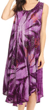 Sakkas Mariana Tie Dye Vine Print Dress / Cover Up with Sequins and Embroidery