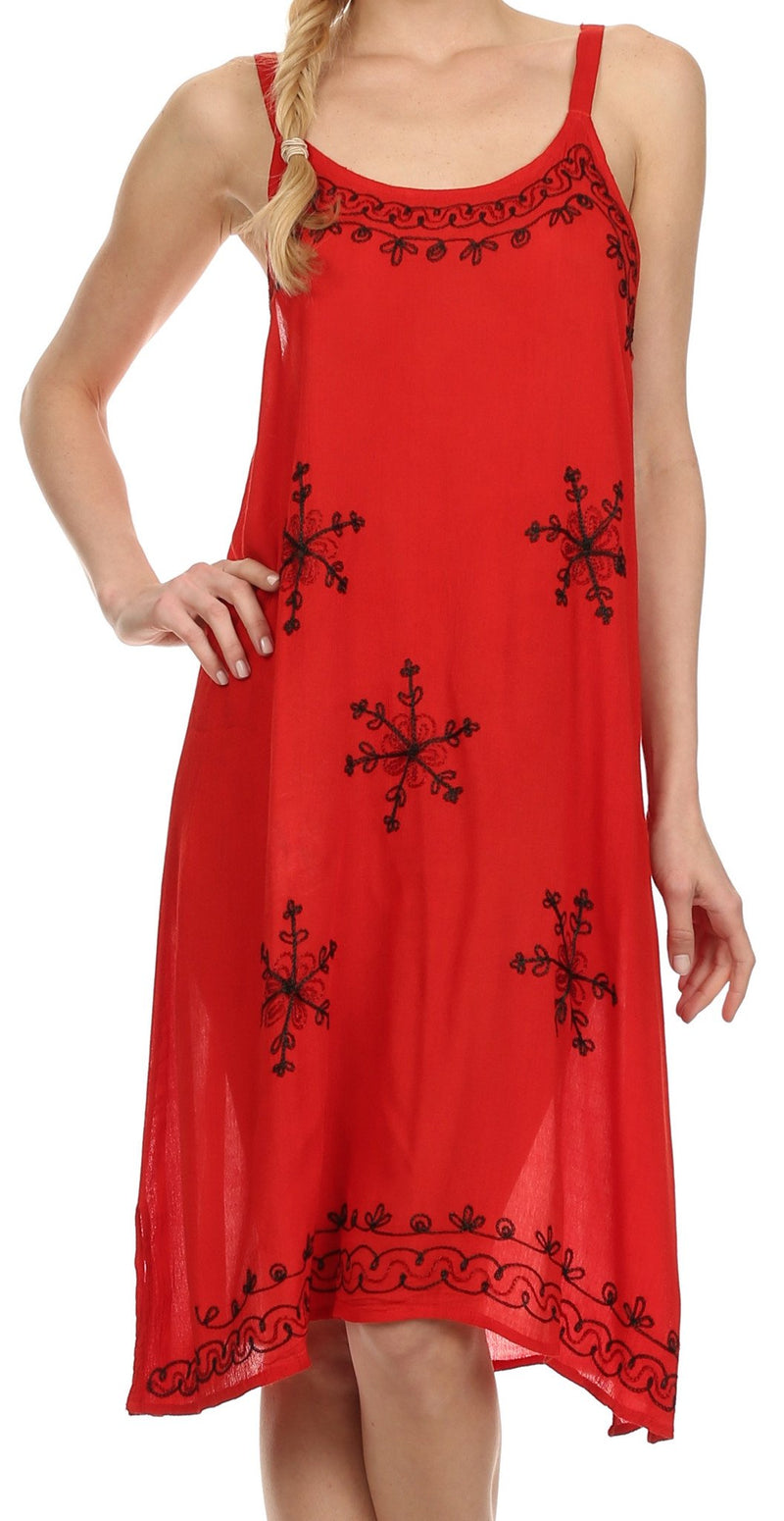Sakkas Lucy Embroidered Hearts and Snowflakes Short Dress /Cover Up