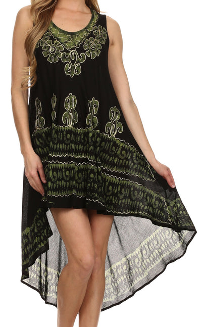 Sakkas Lily Luau Flower Embroidered High Low Dress