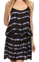 Sakkas Casey Tie Dye Striped Wave Every Day Caftan Mid Length Dress / Cover Up