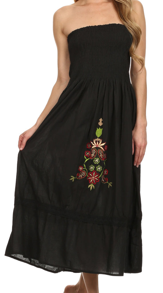 Sakkas Elsie Floral Embroidered Cotton Tube Top Dress