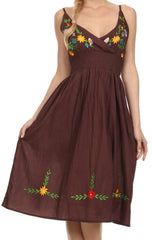 Sakkas Nancy Floral Embroidered Adjustable Spaghetti Strap Cotton Dress