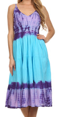 Sakkas Hannah Tie Dye Adjustable Spaghetti Strap V-Neck Cotton Dress