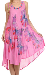 Sakkas Bailey Spring Butterfly Embroidered Caftan Dress / Cover Up