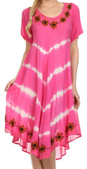 Sakkas Audrey Tie Dye Flower Embroidery Caftan Dress / Cover Up