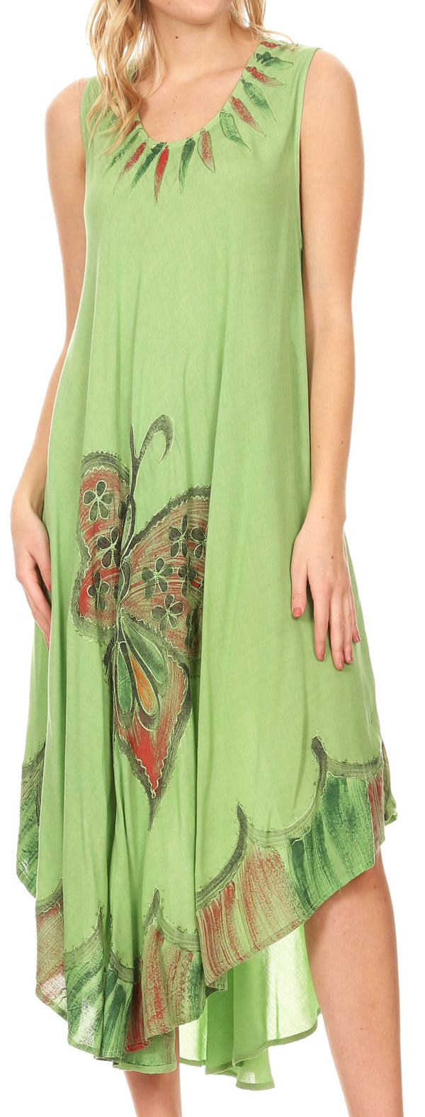 Sakkas Keola Women's Maxi Caftan Bathing Suit Cover Up Summer Dress Sleeveless#color_Green