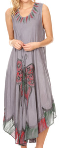 Sakkas Keola Women's Maxi Caftan Bathing Suit Cover Up Summer Dress Sleeveless#color_Grey