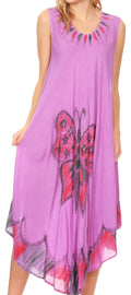 Sakkas Keola Women's Maxi Caftan Bathing Suit Cover Up Summer Dress Sleeveless#color_Purple