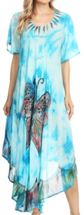 Sakkas Nalani Womens Flowy Caftan Tie Dye Summer Dress Cover up Relax Fit#color_Turq