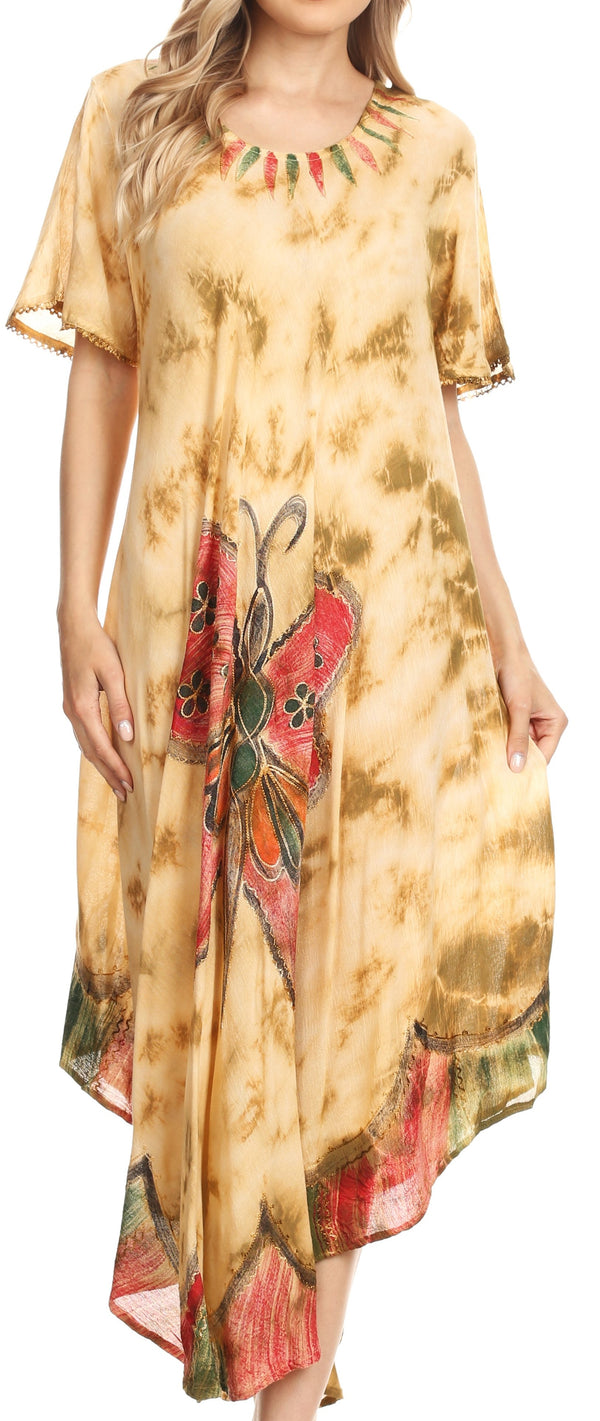 Sakkas Nalani Womens Flowy Caftan Tie Dye Summer Dress Cover up Relax Fit#color_Beige