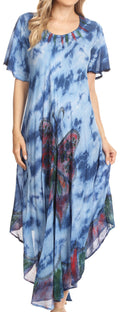 Sakkas Nalani Womens Flowy Caftan Tie Dye Summer Dress Cover up Relax Fit#color_Blue