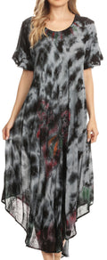 Sakkas Nalani Womens Flowy Caftan Tie Dye Summer Dress Cover up Relax Fit#color_Charcoal