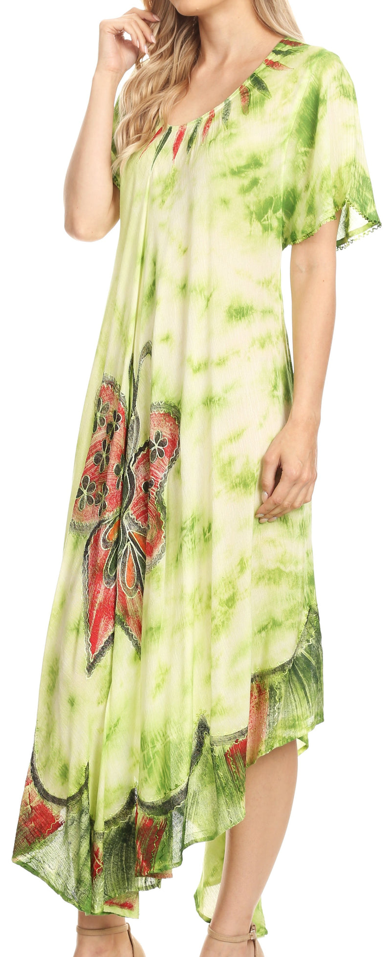 Sakkas Nalani Womens Flowy Caftan Tie Dye Summer Dress Cover up Relax Fit