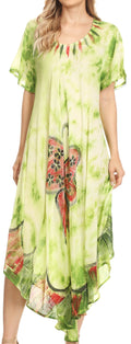 Sakkas Nalani Womens Flowy Caftan Tie Dye Summer Dress Cover up Relax Fit#color_Green